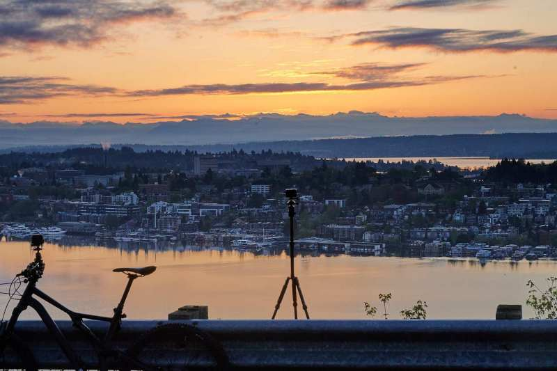 A gopro recording sunrise from Queen Anne in Seattle