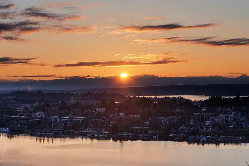 Sunrise over lake union
